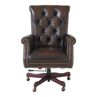 Maitland Smith 114st Kramer Leather Office Desk Chair For Sale