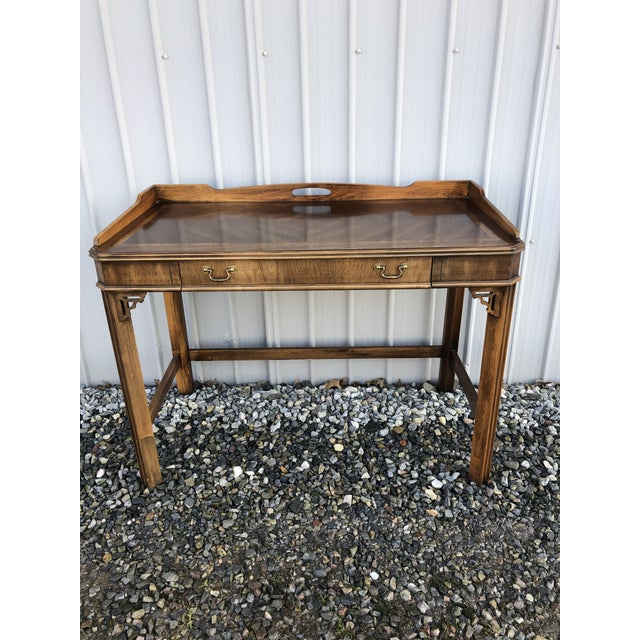 1970s Chippendale Lane Mahogany Writing Desk For Sale - Image 9 of 9