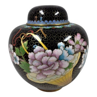 Black Cloisonne Lidded Ginger Jar For Sale