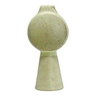 Sculptural Ceramic Vase - Tall Drum / Light Green For Sale