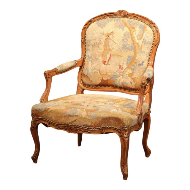 19th Century French Louis XV Carved Walnut Armchair With Aubusson Tapestry For Sale
