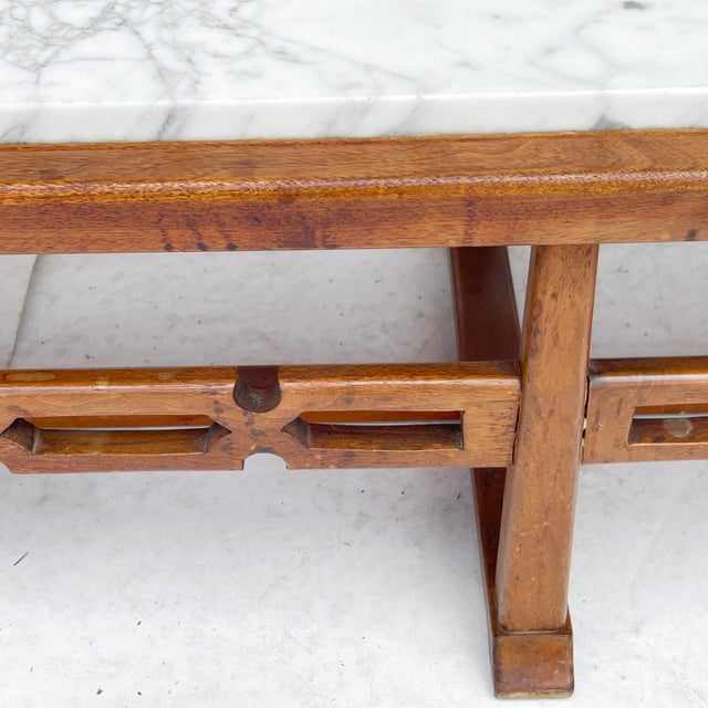 Long Mid-Century Marble Top Coffee Table For Sale - Image 10 of 13
