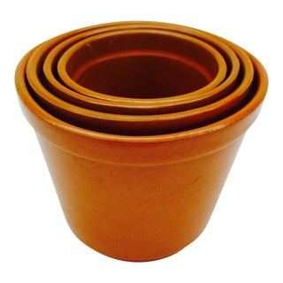 Late 20th Italian Century Glazed Ceramic Plant Pots Nesting - Set of 4 For Sale