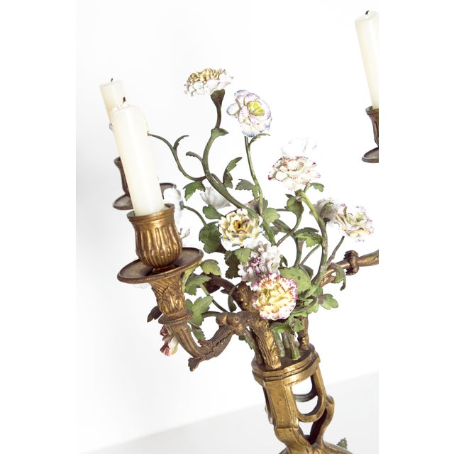 Late 19th Century Pair of French Belle Epoque Gilt Bronze Porcelain Candelabra For Sale - Image 9 of 13