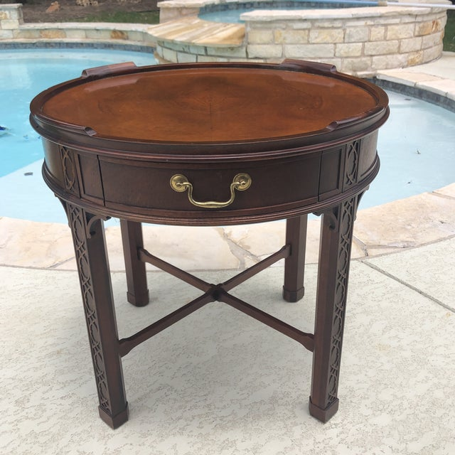 Wood 1950s Arts and Crafts Baker Furniture Round Chippendale Style Side Table For Sale - Image 7 of 13