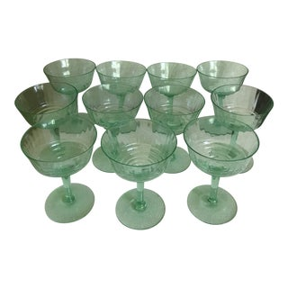 Fostoria Green Deco Ribbed Champagne Wine Goblets - Set of 11 For Sale