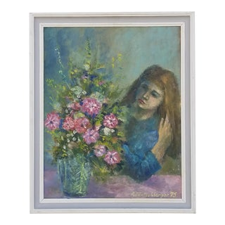 1975 Female With Flowers Painting For Sale
