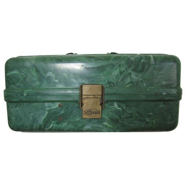 Green Marbleized Malachite Style Storage Box - Image 1 of 8