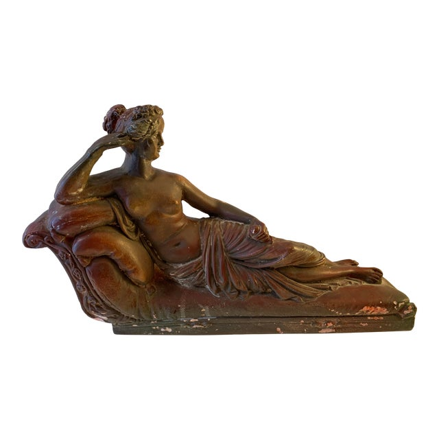 Plaster Reclining Female Figure Sculpture For Sale