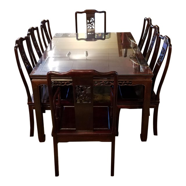Chinese Hand Carved Rosewood Dining Set for Eight - Image 1 of 11