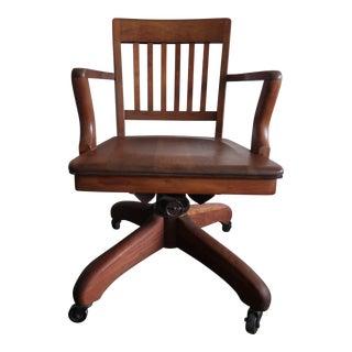 Mid-Century Modern Gunlocke Industrial Swivel Desk Arm Rolling Chair For Sale