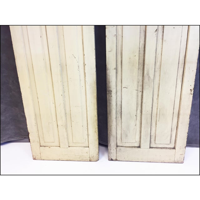 Vintage Rustic Yellow Milk Painted Cabinet Doors - A Pair - Image 7 of 11