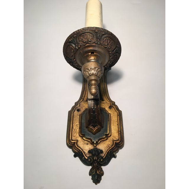 Gold 1930's French Style Single Light Sconces - a Pair For Sale - Image 8 of 11