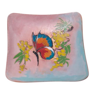 Small Mid-Century Dutch Modern Hand-Painted Enamel on Copper 'Butterfly' Dish For Sale