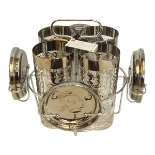 Vintage Glasses and Coasters with Silver Metal Caddy - Set of 4 For Sale