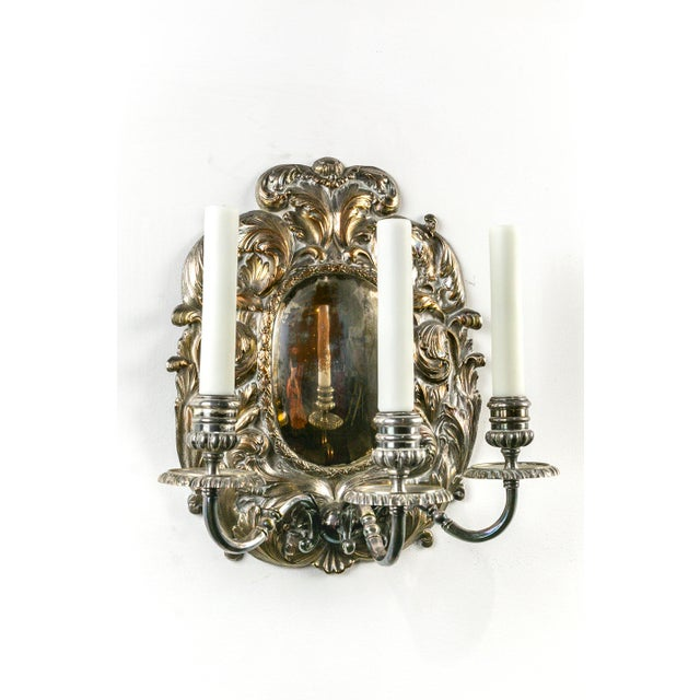 Spanish Silver Shield Triple Candelabra Sconces, Pair (3 Pairs Available) For Sale - Image 10 of 13
