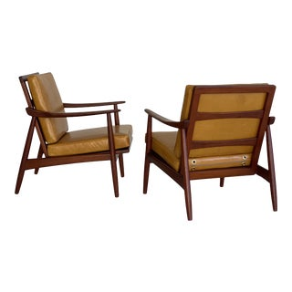 Newly Reupholstered Leather and Teak Danish Lounge Chairs - a Pair For Sale