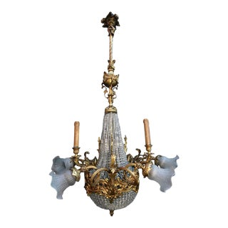 1930s French Bronze Chandelier For Sale