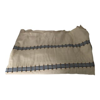 """Scandinavian Style Blue & Off White Colors Linen Fabric 54""""x 104"""" For Sale"""