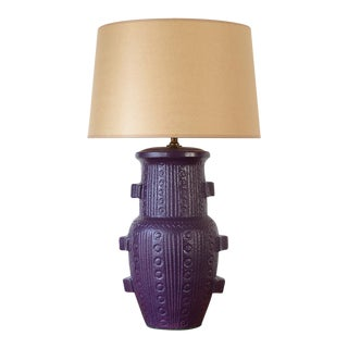 Mid Century Modern Purple Pottery Table Lamp For Sale