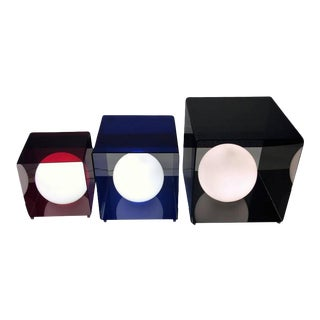 Trio of Pop Art Modern Red ,blue and Grey Lucite Cube Lamps For Sale