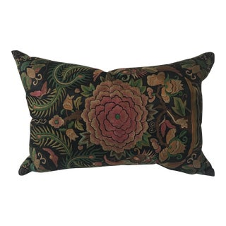 Asian Embroidered Floral Butterfly Art Nouveau Pillow For Sale