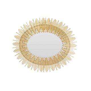 Sunburst Gold Leaf Finish Iron Reed Mirror For Sale