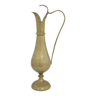 Engraved Brass Ewer For Sale