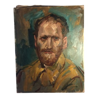 Vintage Portrait of a Man Oil Painting on Canvas For Sale