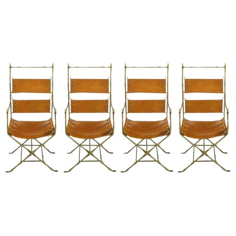 Four Custom Leather and Hand-Forged Iron X-Base Sling Chairs For Sale