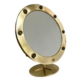 Round Brass Magnifying Hollywood Makeup Vanity Mirror