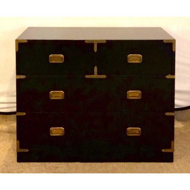 Campaign Style Ebony Chest / Dresser or Nightstand Attributed to Baker For Sale - Image 4 of 13