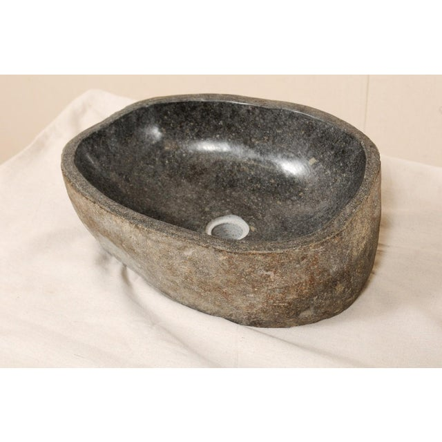 Pair of Carved and Polished Grey River Rock Sink Basins For Sale - Image 10 of 12