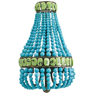 Boho Chic Currey & Company Turquoise Beaded Wall Sconce