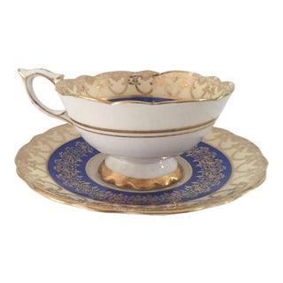 Vintage Royal Stafford English Bone China Blue, Gold Teacup & Saucer For Sale