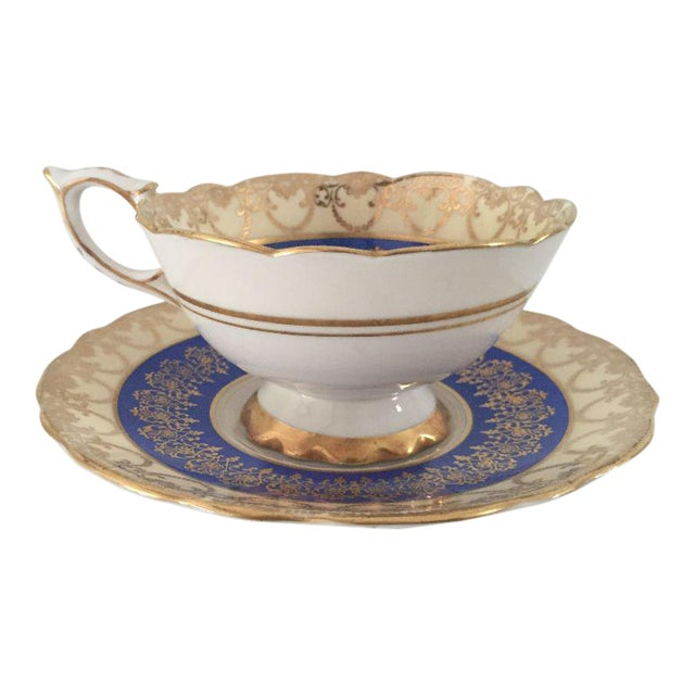 Vintage Royal Stafford English Bone China Blue, Gold Teacup & Saucer