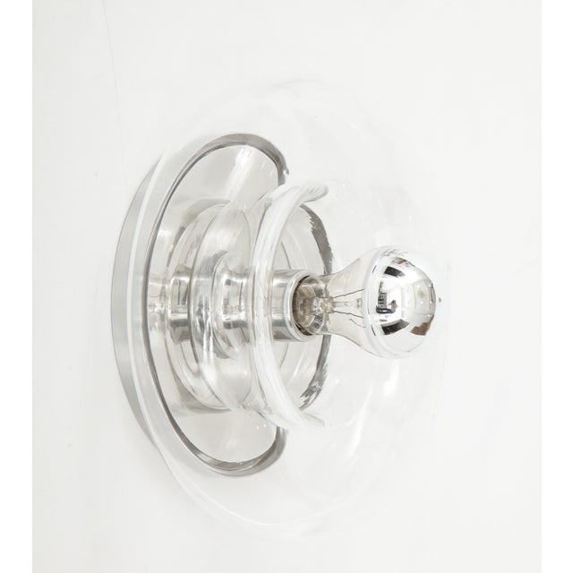 Minimalist Glass Donut Sconces / Flush Mounts by Doria - a Pair For Sale In New York - Image 6 of 8