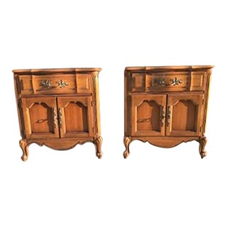 Thomasville Oak Carved Nightstands - A Pair