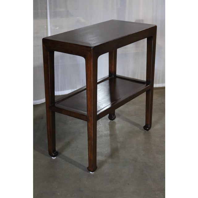 Asian Chinese Elm Wood Side Table With Shelf - a Pair For Sale - Image 3 of 6