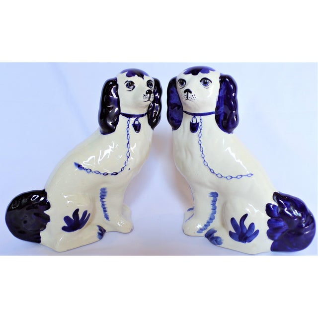 Ceramic Vintage Blue and White Ceramic Staffordshire Dogs - a Pair For Sale - Image 7 of 11