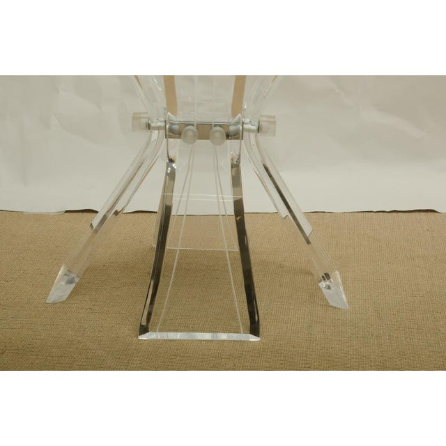Glass Beautiful Octagonal Dining Table with Lucite Base and Beveled Glass Top For Sale - Image 7 of 7
