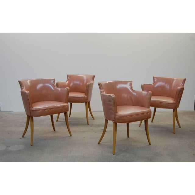 Animal Skin Set of Four Early Dunbar Dining Chairs in Leather For Sale - Image 7 of 7