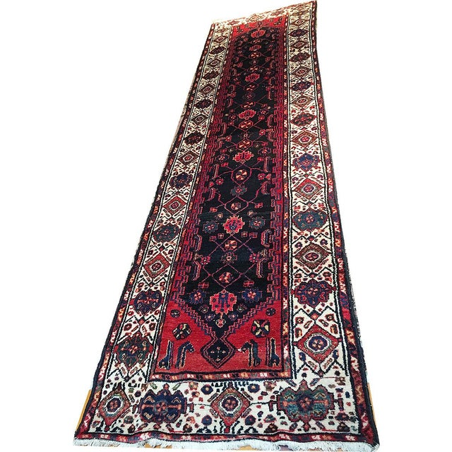 "A Marvelous Vintage Persian Hamedan Hallway Runner Rug - 3'-1"" x 11'-9 For Sale - Image 4 of 4"