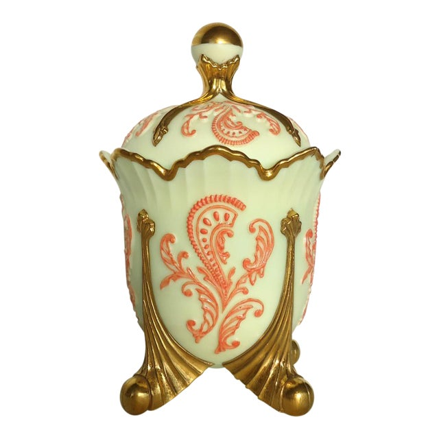 Gold & Coral Custard Glass Lidded Dish - Image 1 of 8