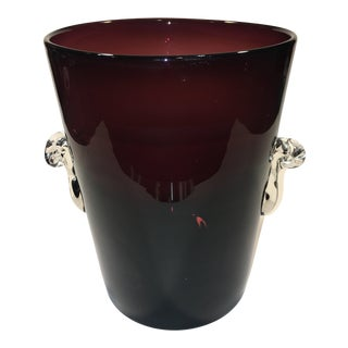 1980s Hand Blown Glass Ice Bucket For Sale