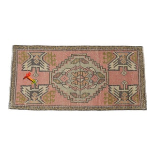 Low Pile Turkish Yastik Petite Rug Hand Knotted Distressed Mat Bath Rug - 18'' X 38'' For Sale