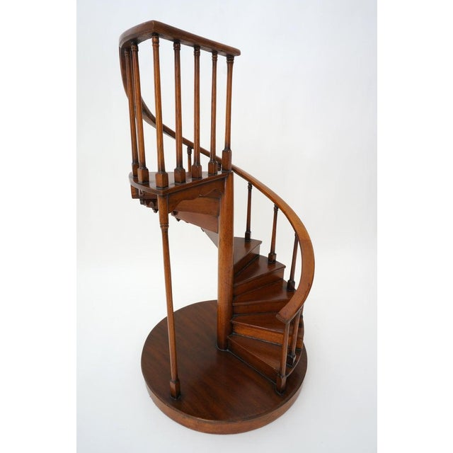 Vintage Spiral Staircase Architectural Model in Mahogany For Sale In West Palm - Image 6 of 12