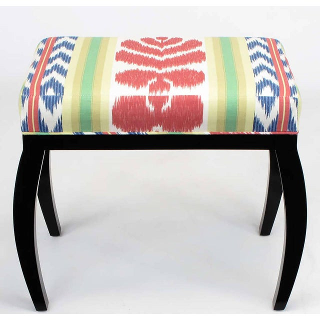 Pair of Interior Crafts Black Lacquer and Ikat Benches - Image 4 of 8