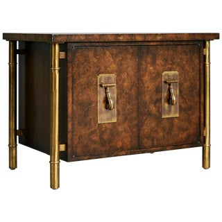 1960s Mastercraft Burled Wood & Brass Side or End Table by William Doezema For Sale
