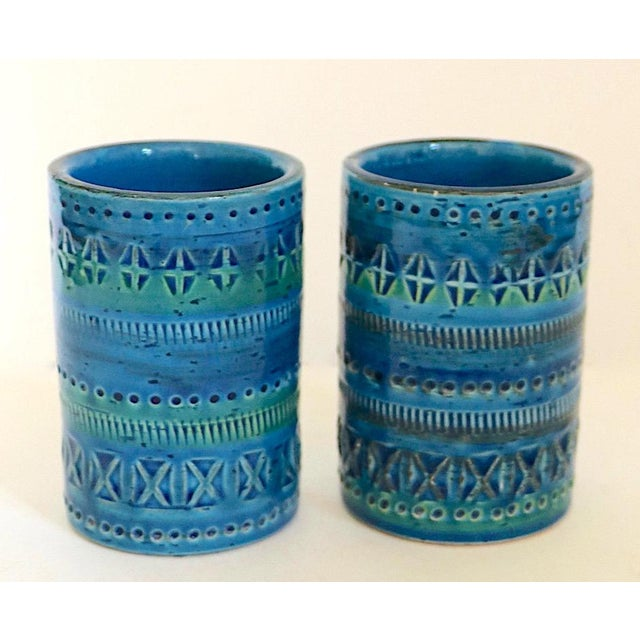 Pair of diminutive Bistossi Rimini Italian pottery vases marked Flavia Montelupo Italy, circa 1970's. Offered and priced...